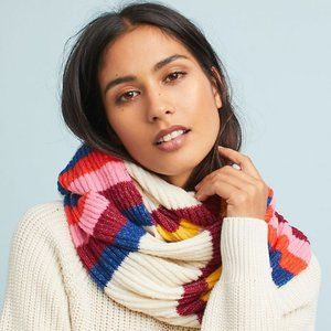 Anthropologie Cheery Striped Infinity Scarf